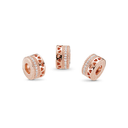 Hearts of PANDORA Charm, PANDORA Rose™ & Clear CZ