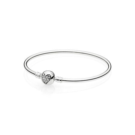 Moments Silver Bangle,  Heart of Winter Clasp
