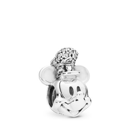 Disney, Shimmering Steamboat Willie Portrait Charm, Clear CZ