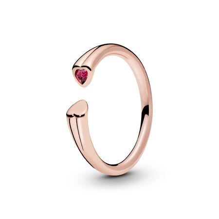 Polished & Sparkling Hearts Open Ring