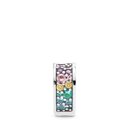 Multi-Colored Arc of Love Clip, Multi-Colored CZ & Crystals