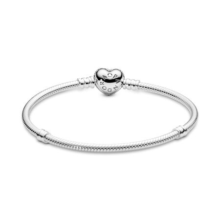 Moments Sparkling Heart & Snake Chain Bracelet