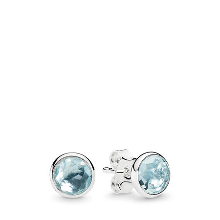 March Droplets Stud Earrings, Aqua Blue Crystal