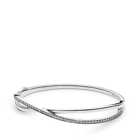 Entwined Bangle Bracelet, Clear CZ