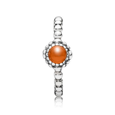 Birthday Blooms Ring, July, Carnelian