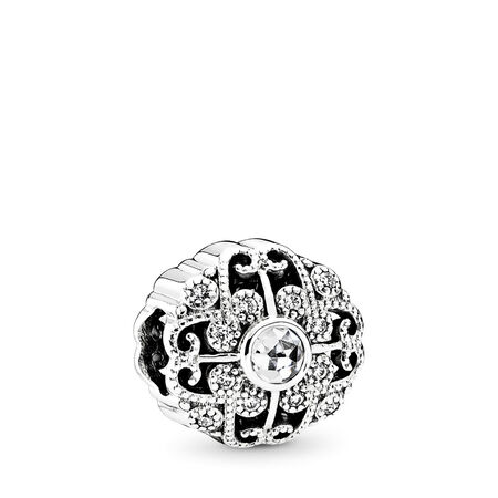 Fairytale Bloom Charm, Clear CZ