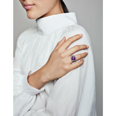 Regal Dazzling Beauty Ring, Purple CZ