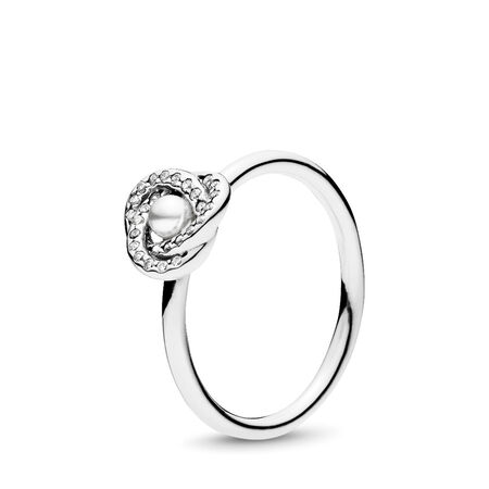 Luminous Love Knot Ring, White Crystal Pearl & Clear CZ