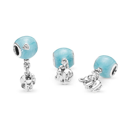 Elephant & Blue Balloon Dangle Charm, Blue Enamel & Clear CZ