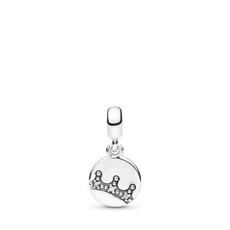 Dazzling Crown Dangle Charm, Clear CZ