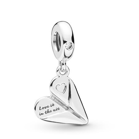 Heart Paper Plane Dangle Charm