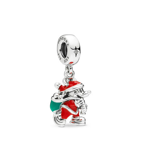Disney, Santa Mickey & Gift Bag Dangle Charm, Red & Green Enamel