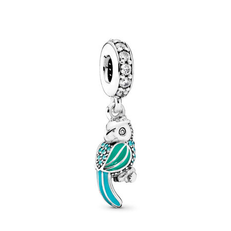 Tropical Parrot Dangle Charm, Mixed Enamels, Teal & Clear CZ