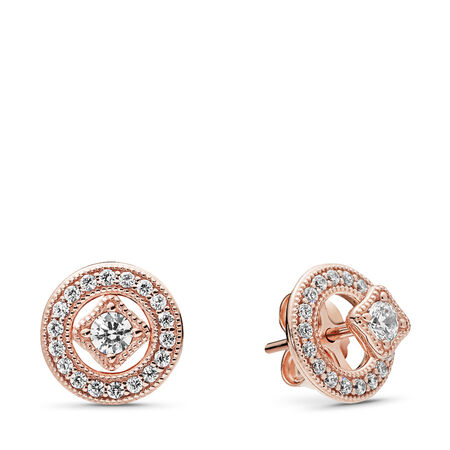 Vintage Allure Earrings, PANDORA Rose™ & Clear CZ