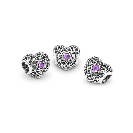 February Signature Heart Charm, Synthetic Amethyst