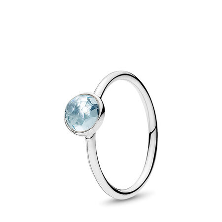 March Droplet Ring, Aqua Blue Crystal
