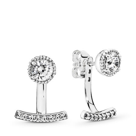 Abstract Elegance Drop Earrings, Clear CZ