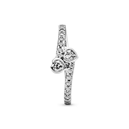 Forever Hearts Ring, Clear CZ