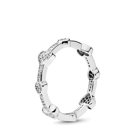 Alluring Hearts Ring, Clear CZ
