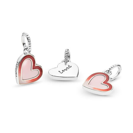 Asymmetric Heart of Love Charm, Mixed Enamel