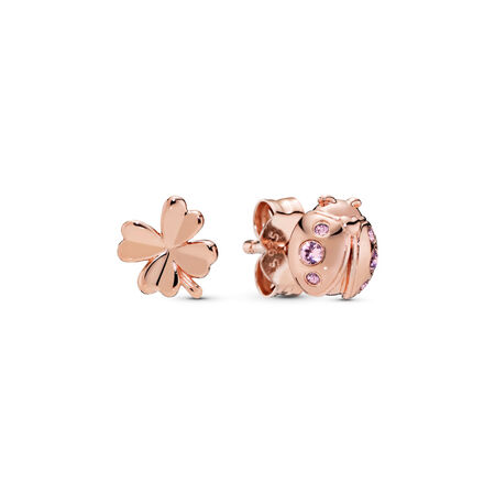 Four-Leaf Clover & Ladybird Earrings, Pandora Rose™