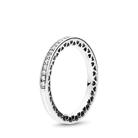 Radiant Hearts of PANDORA Ring, Silver Enamel & Clear CZ