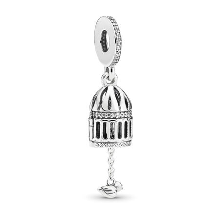 Free as a Bird Dangle Charm, Clear CZ