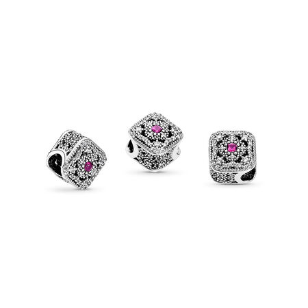 Fairytale Treasure Charm, Cerise Crystal & Clear CZ