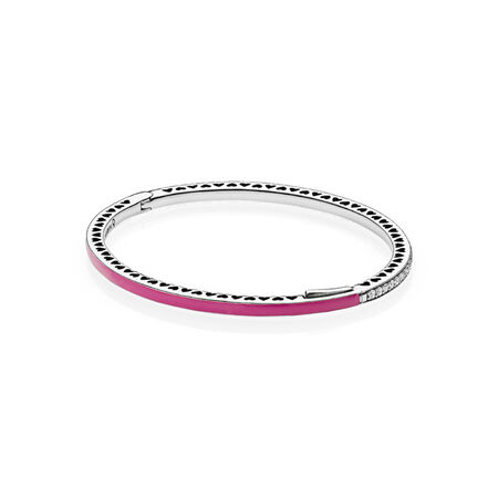 Radiant Hearts of PANDORA Bangle Bracelet, Radiant Orchid Enamel & Clear CZ