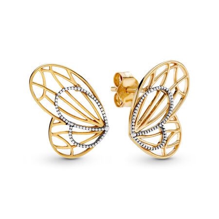 Openwork Butterflies Earrings, Pandora Shine™