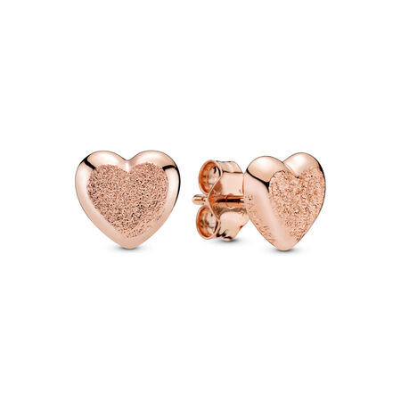 Matte Brilliance Hearts Earrings, Pandora Rose™
