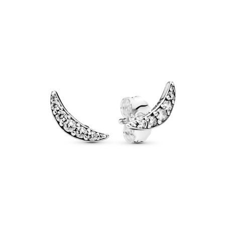 Lunar Light Stud Earrings, Clear CZ