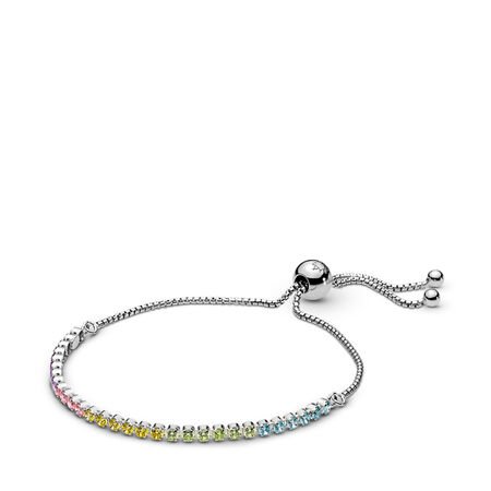Multi-Color Sparkling Strand Bracelet, Multi-Colored CZ