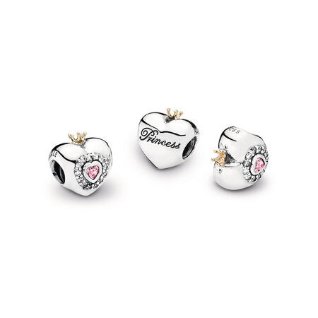 Princess Heart Charm, Pink CZ
