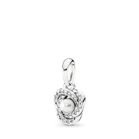Luminous Love Knot Pendant, White Crystal Pearl & Clear CZ