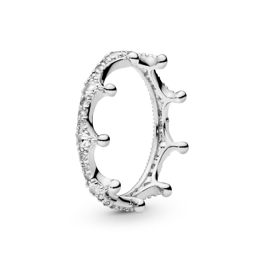 Clear Sparkling Crown Ring, Sterling silver, Cubic Zirconia - PANDORA - #197087CZ