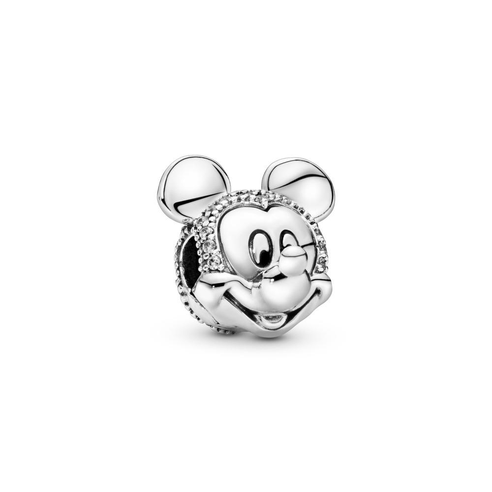 Disney, Shimmering Mickey Portrait Clip, Clear CZ, Sterling silver, Cubic Zirconia - PANDORA - #797495CZ