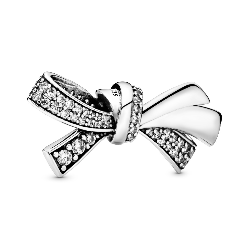 Brilliant Bow Charm, Clear CZ, Sterling silver, Cubic Zirconia - PANDORA - #797241CZ