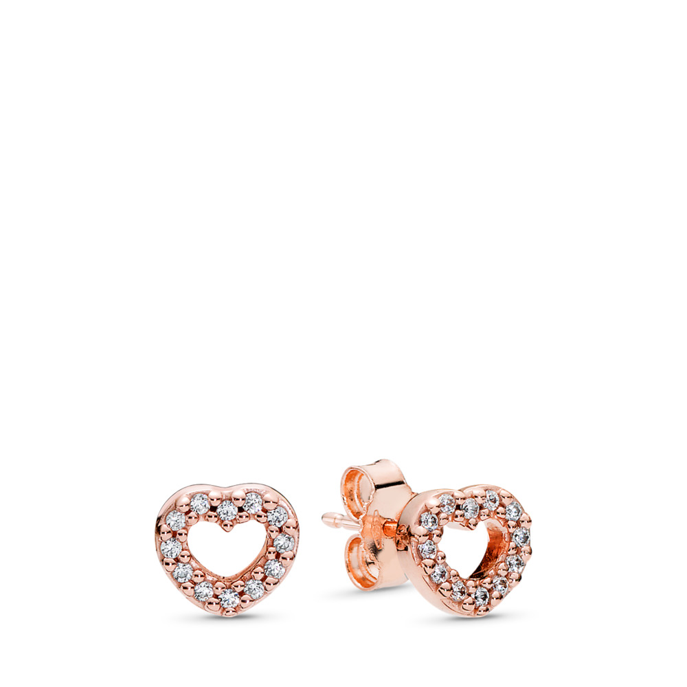 Captured Hearts Stud Earrings, PANDORA Rose™ &  Clear CZ, PANDORA Rose, Cubic Zirconia - PANDORA - #280528CZ