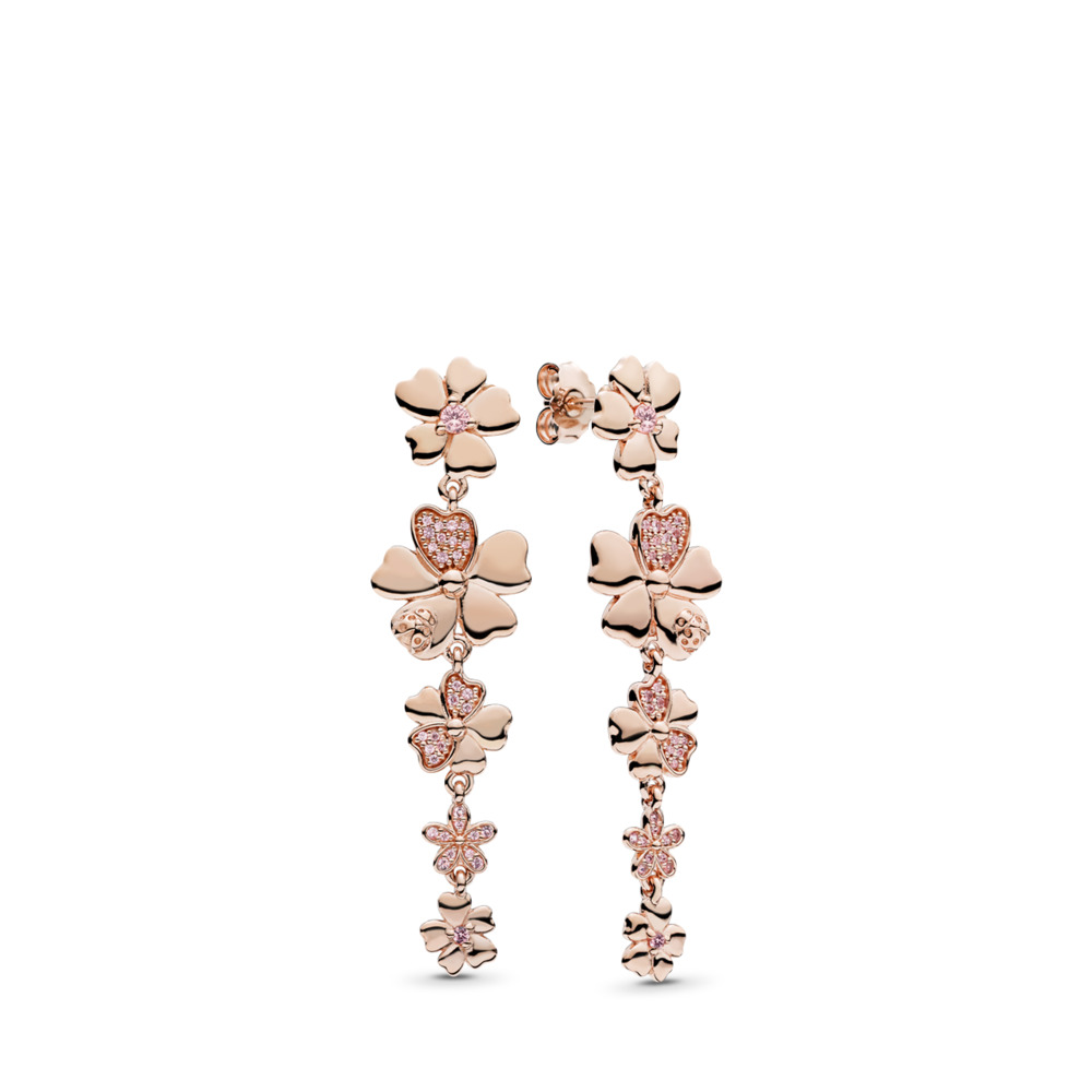 Wildflower Meadow Drop Earrings, PANDORA Rose™ & Blush Pink Crystals, PANDORA Rose, Pink, Mixed stones - PANDORA - #287114NPR