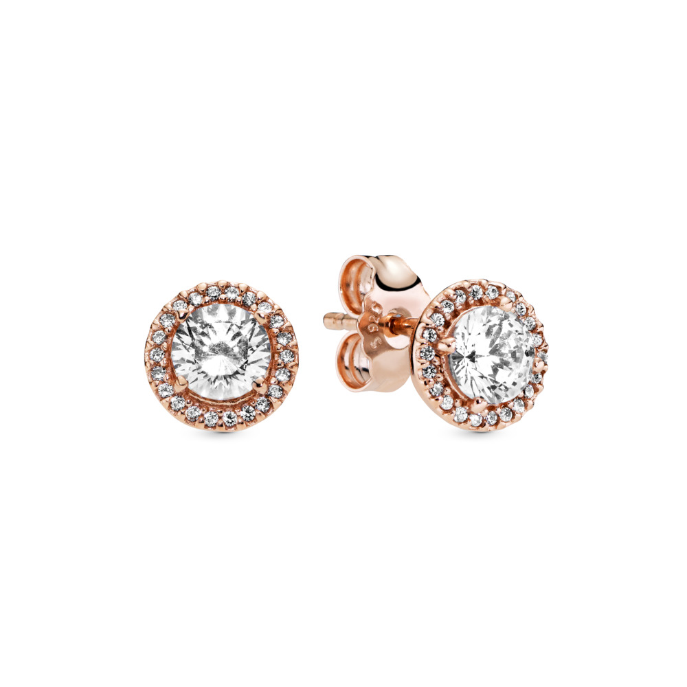 Classic Elegance Stud Earrings, PANDORA Rose™ & Clear CZ, PANDORA Rose, Cubic Zirconia - PANDORA - #286272CZ