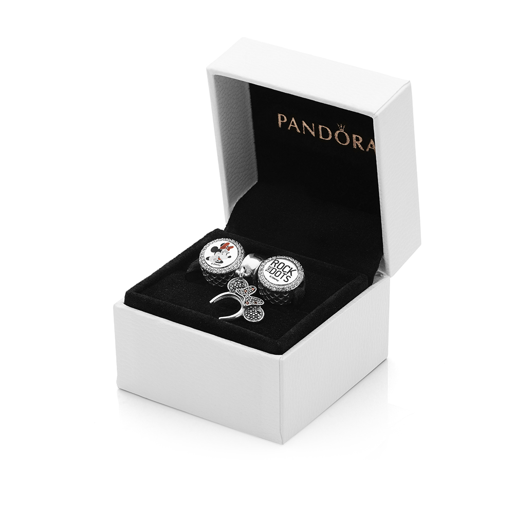 판도라 PANDORA Minnie Mouse Rock the Dots Gift Set Sterling Silver, Enamel