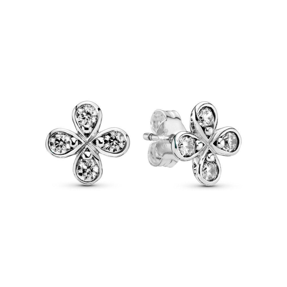 Four-Petal Flower Stud Earrings, Sterling silver, Cubic Zirconia - PANDORA - #297968CZ