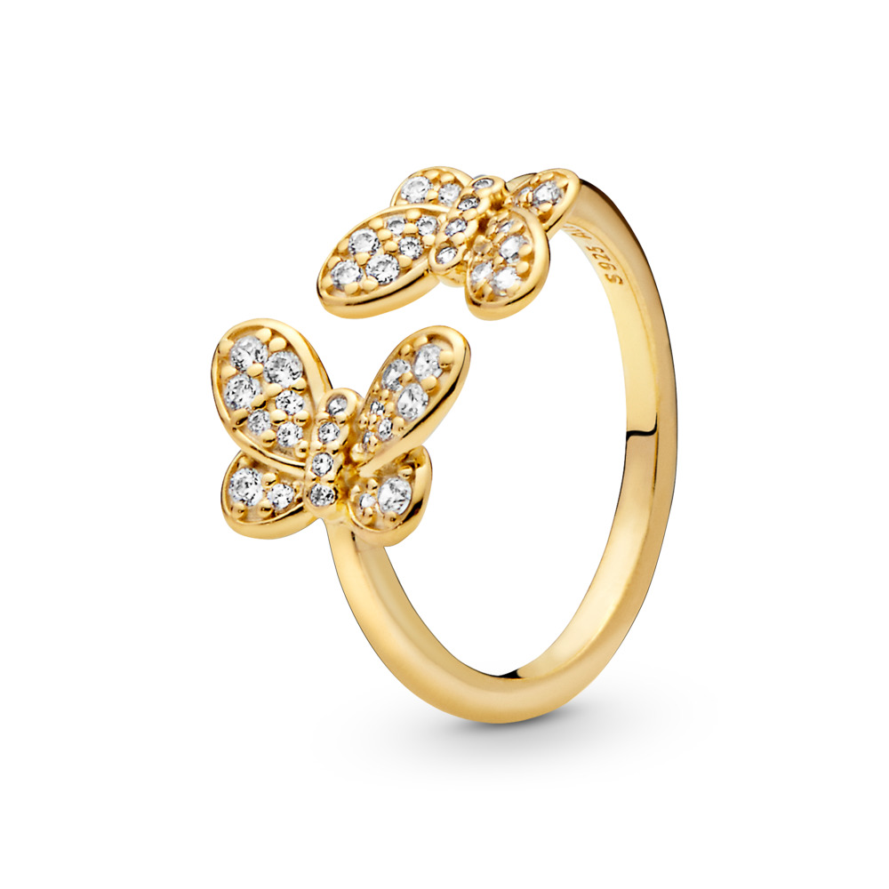 Dazzling Butterflies Ring, Pandora Shine™, 18ct Gold Plated, Cubic Zirconia - PANDORA - #167913CZ