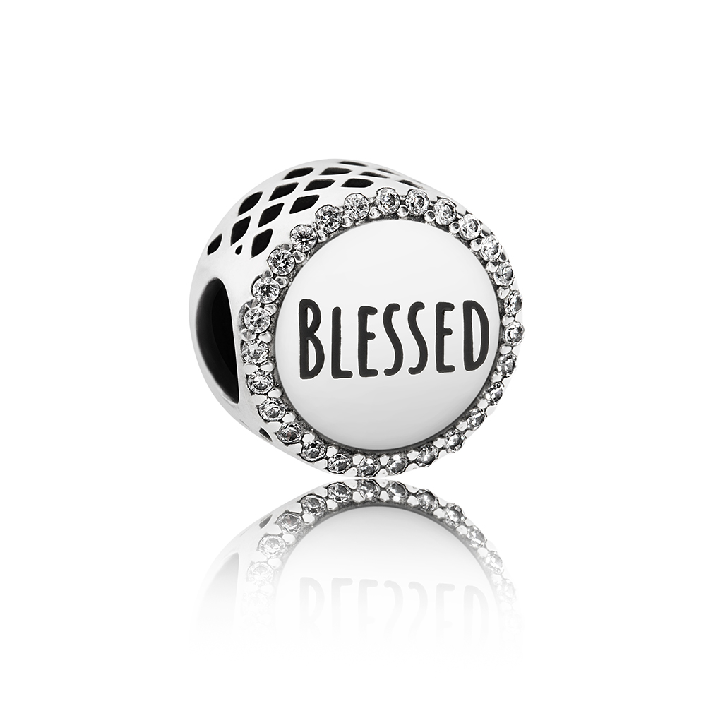 Blessed Charm, Clear CZ, Sterling silver, Cubic Zirconia - PANDORA - #ENG792016CZ_3