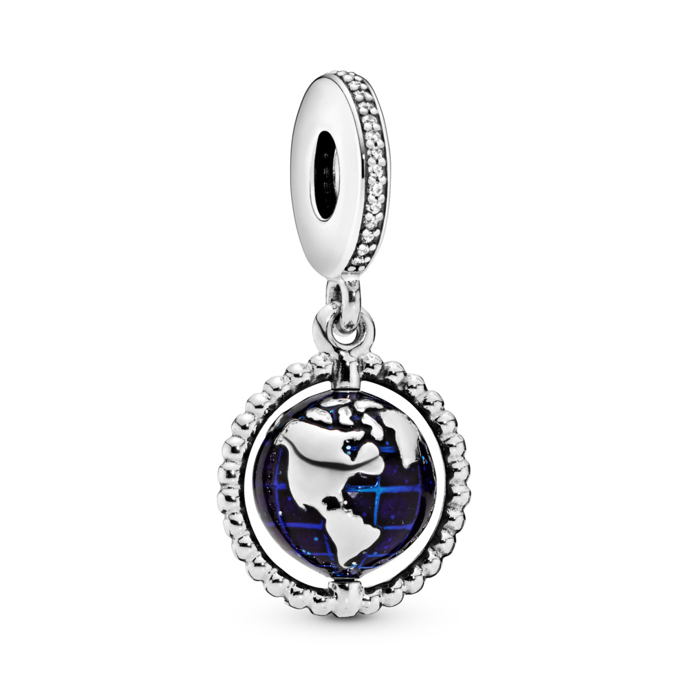 Spinning Globe Dangle Charm, Sterling silver, Enamel, Blue, Cubic Zirconia - PANDORA - #798021CZ