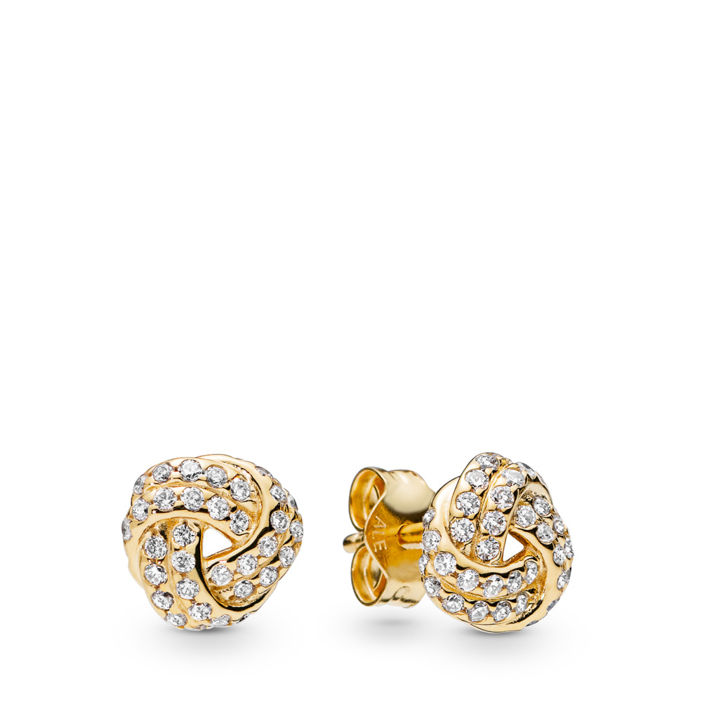 Sparkling Love Knot Earrings, Pandora Shine™, 18ct Gold Plated, Cubic Zirconia - PANDORA - #260696CZ