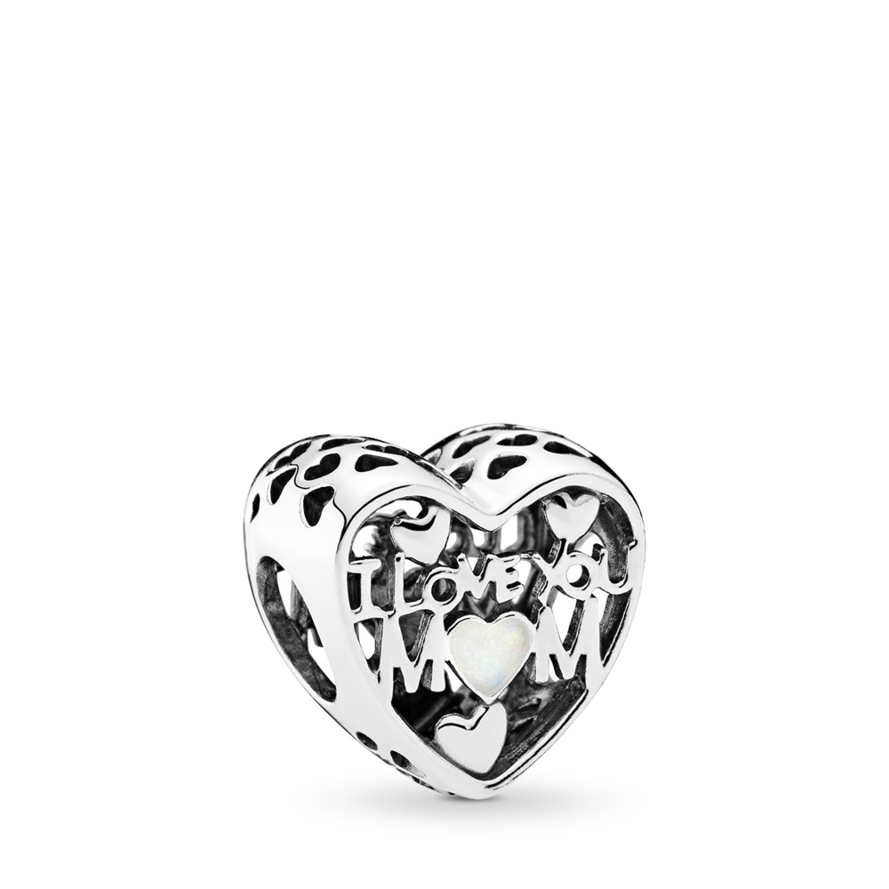 Love for Mother Charm, Silver Enamel, Sterling silver, Enamel, White - PANDORA - #792067EN23