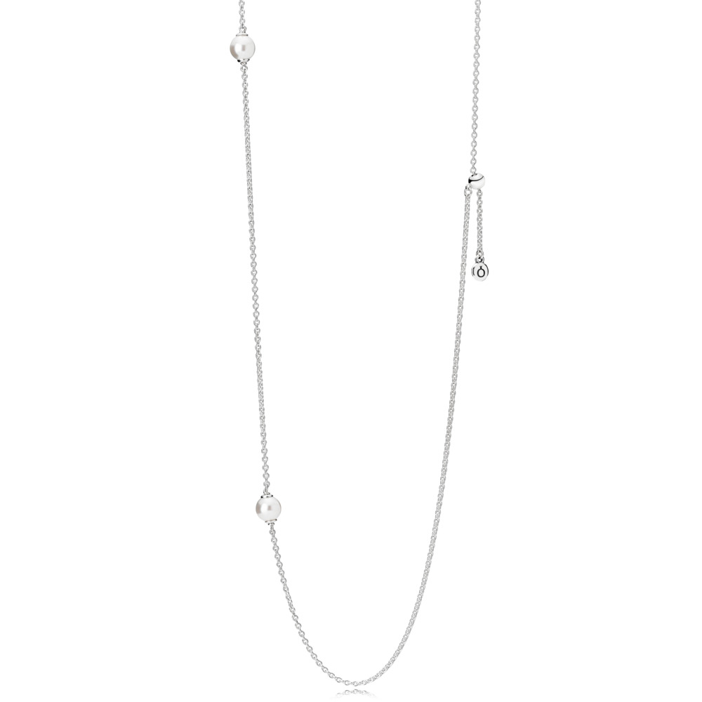 판도라 PANDORA Luminous Dainty Droplets Necklace, White Crystal Pearl Sterling silver, Silicone, White, Crystal Pearl