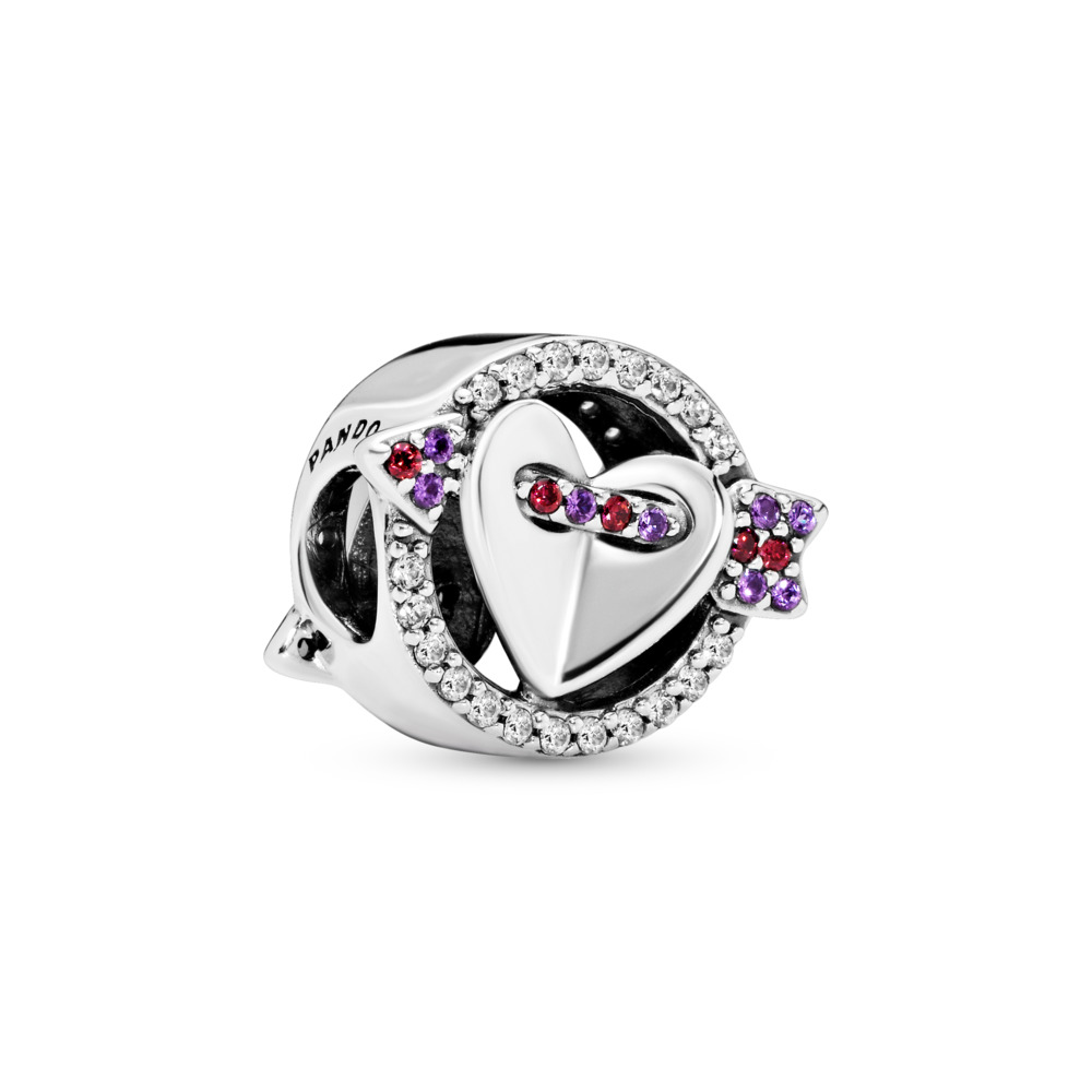 Sparkling Arrow & Heart Charm , Red & Clear CZ, Royal Purple Crystals, Sterling silver, Mixed stones - PANDORA - #797827CZMX